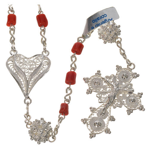 Rosary beads in 800 silver and coral 1