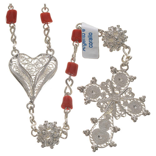 Rosary beads in 800 silver and coral 2