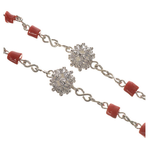 Rosary beads in 800 silver and coral 3