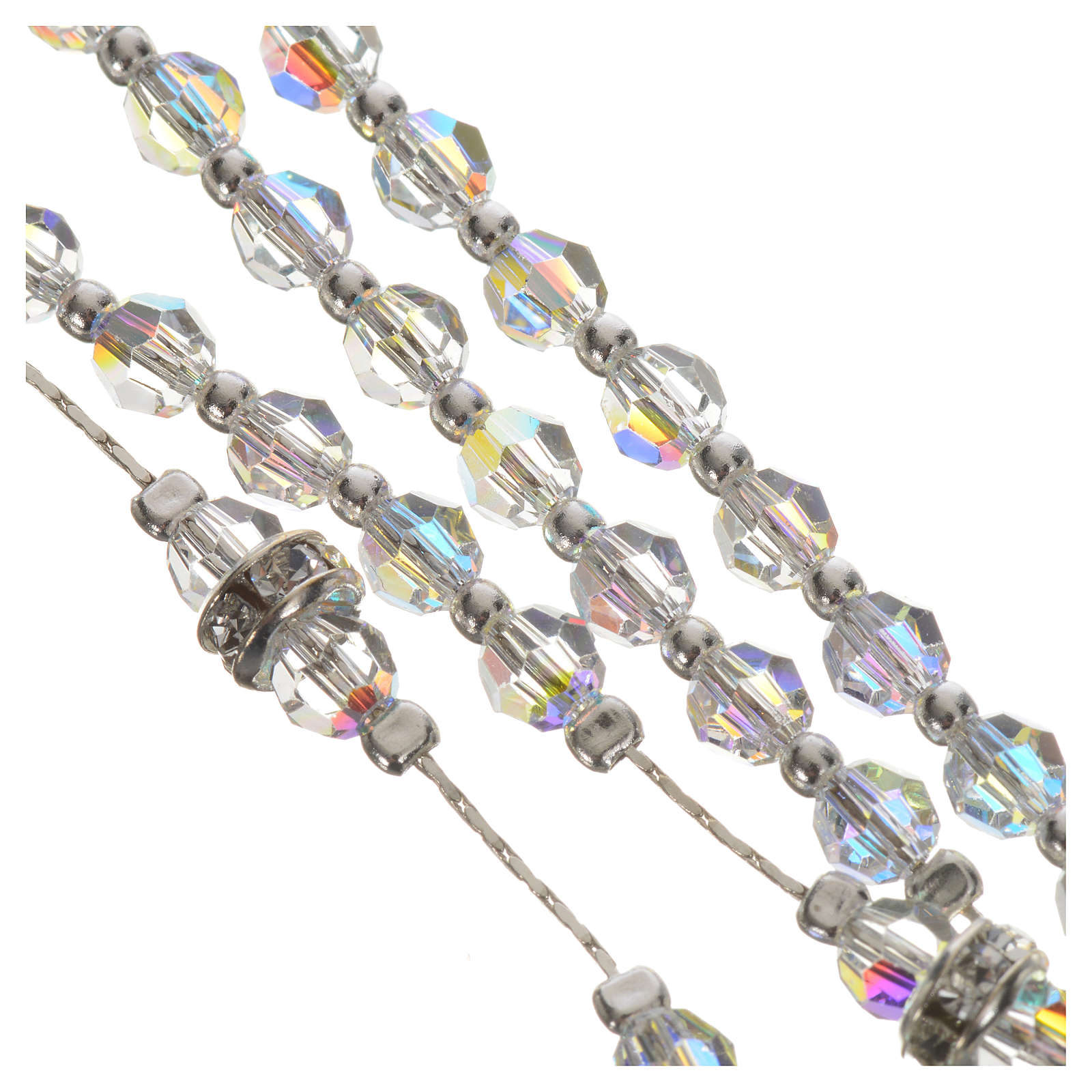 Rosary beads in 925 silver and transparent crystal 4