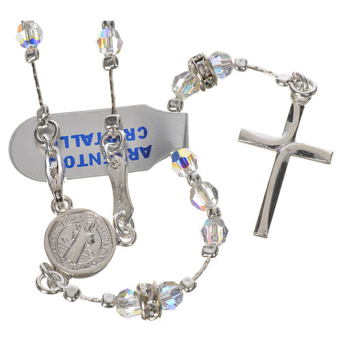 Rosary beads in 925 silver and transparent crystal 1