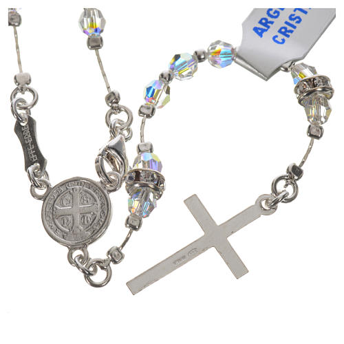Rosary beads in 925 silver and transparent crystal 2