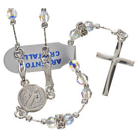 Rosary beads in 925 silver and transparent crystal s1