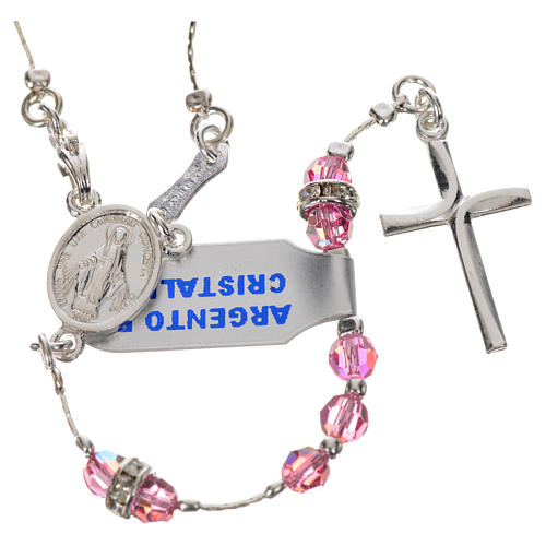 Rosary beads in 800 silver and pink crystal 1