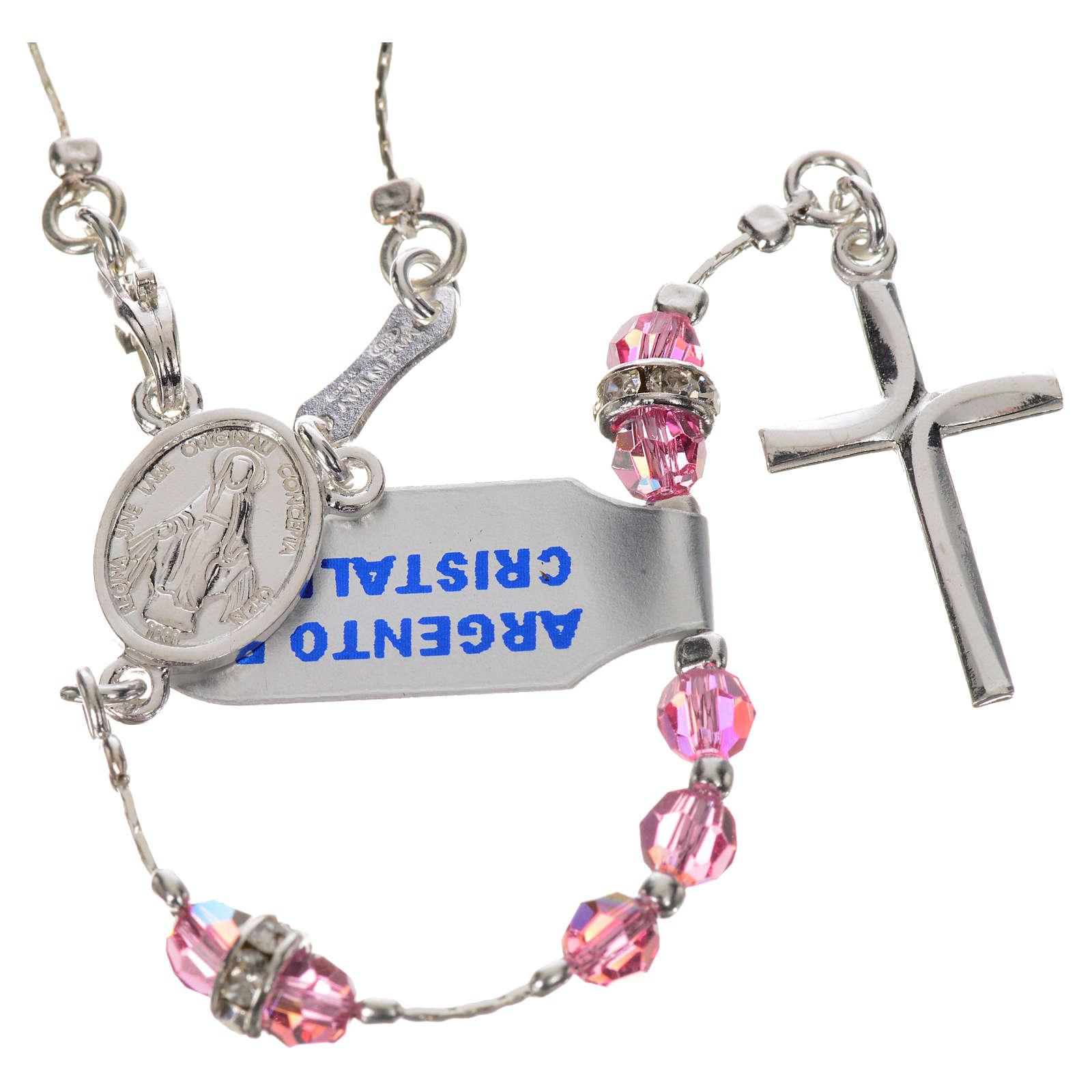 Rosario argento 800 e cristallo rosa 4