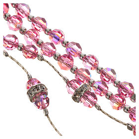 Rosario argento 800 e cristallo rosa s4
