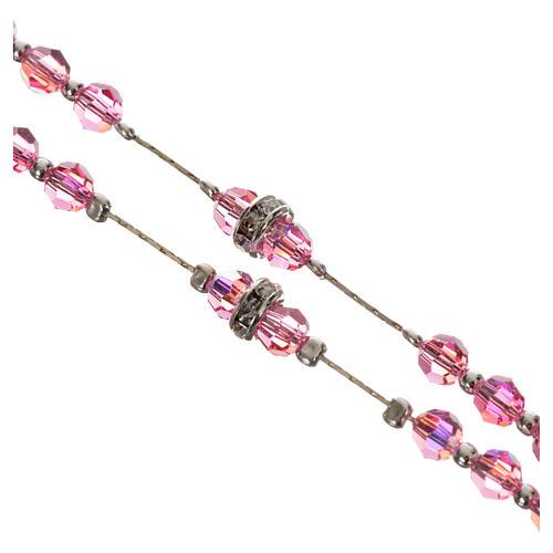 Rosario argento 800 e cristallo rosa 3