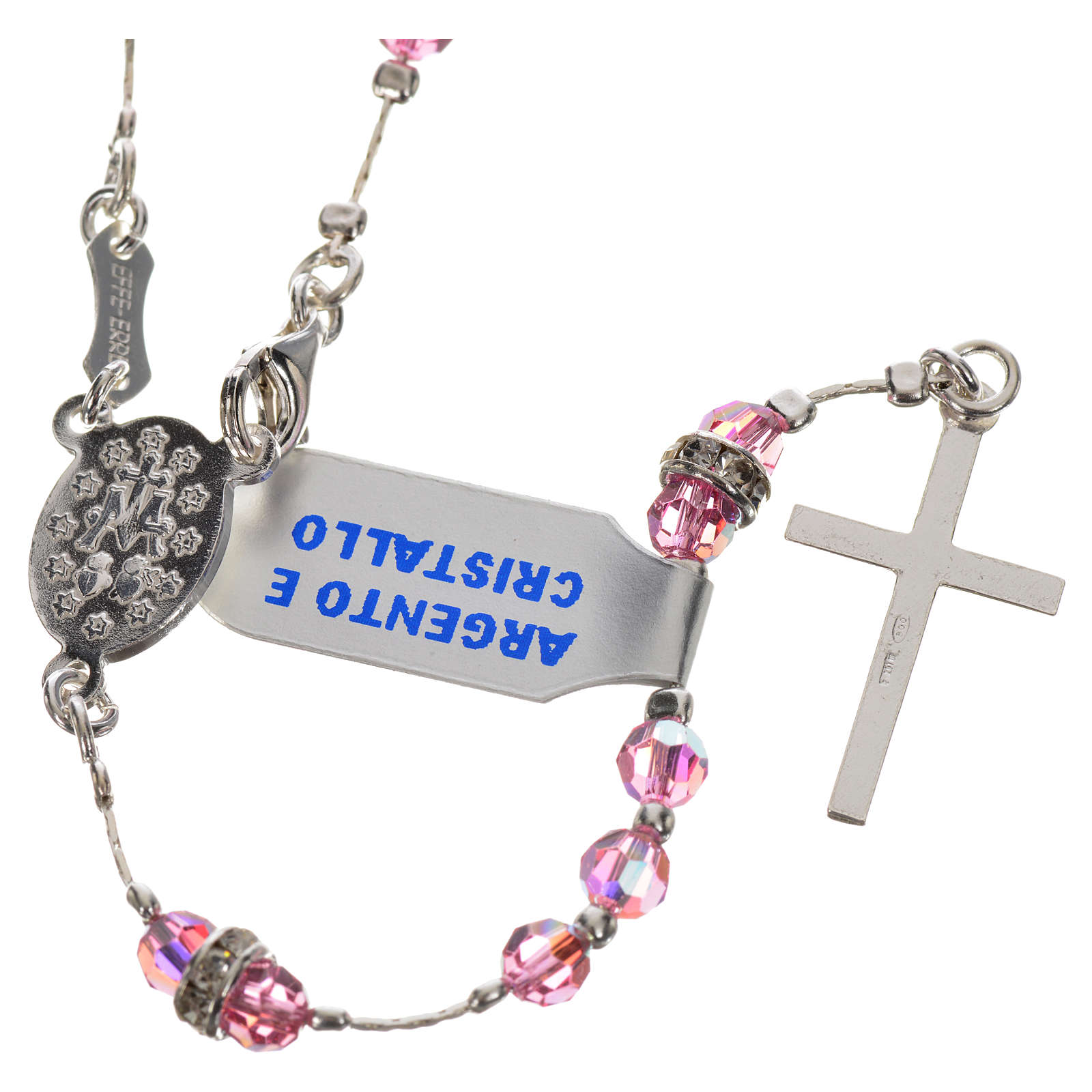 Rosary beads in 800 silver and pink crystal 4