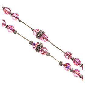Rosary beads in 800 silver and pink crystal s3