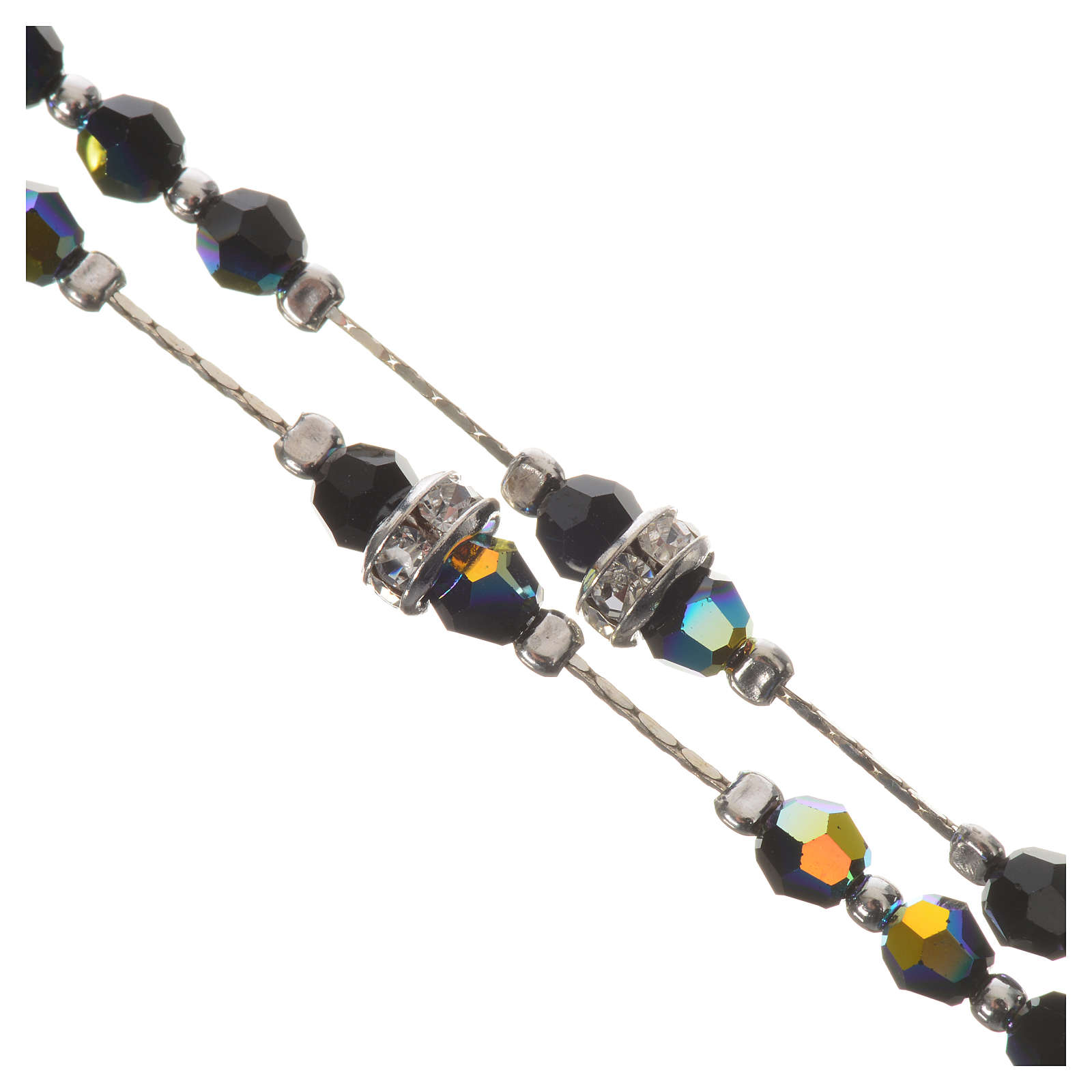 Rosario argento 800 e cristallo nero 4