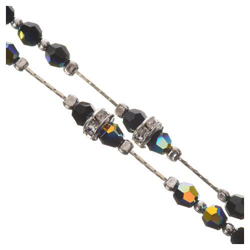 Rosario argento 800 e cristallo nero 3