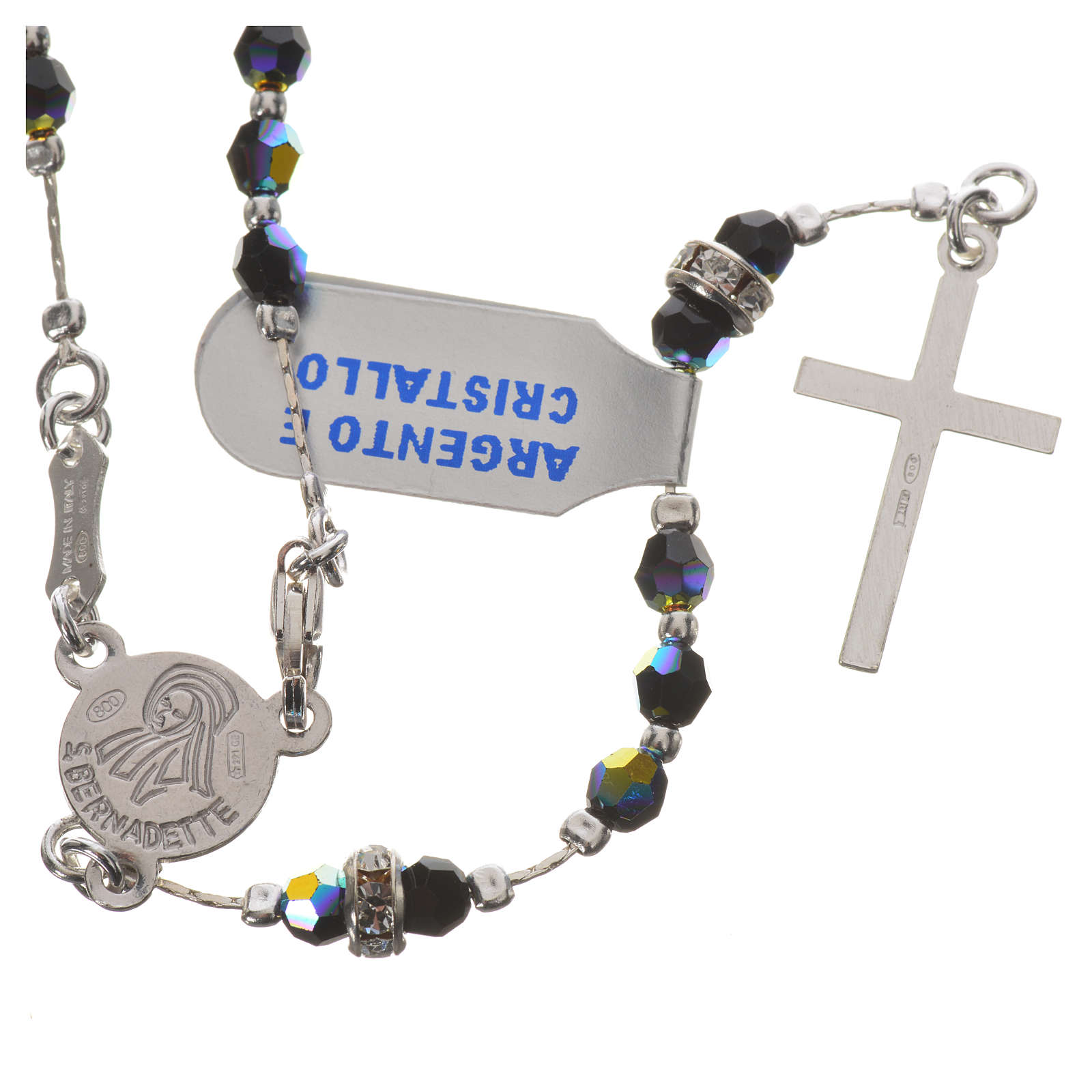 Rosary in 800 silver and black crystal 4
