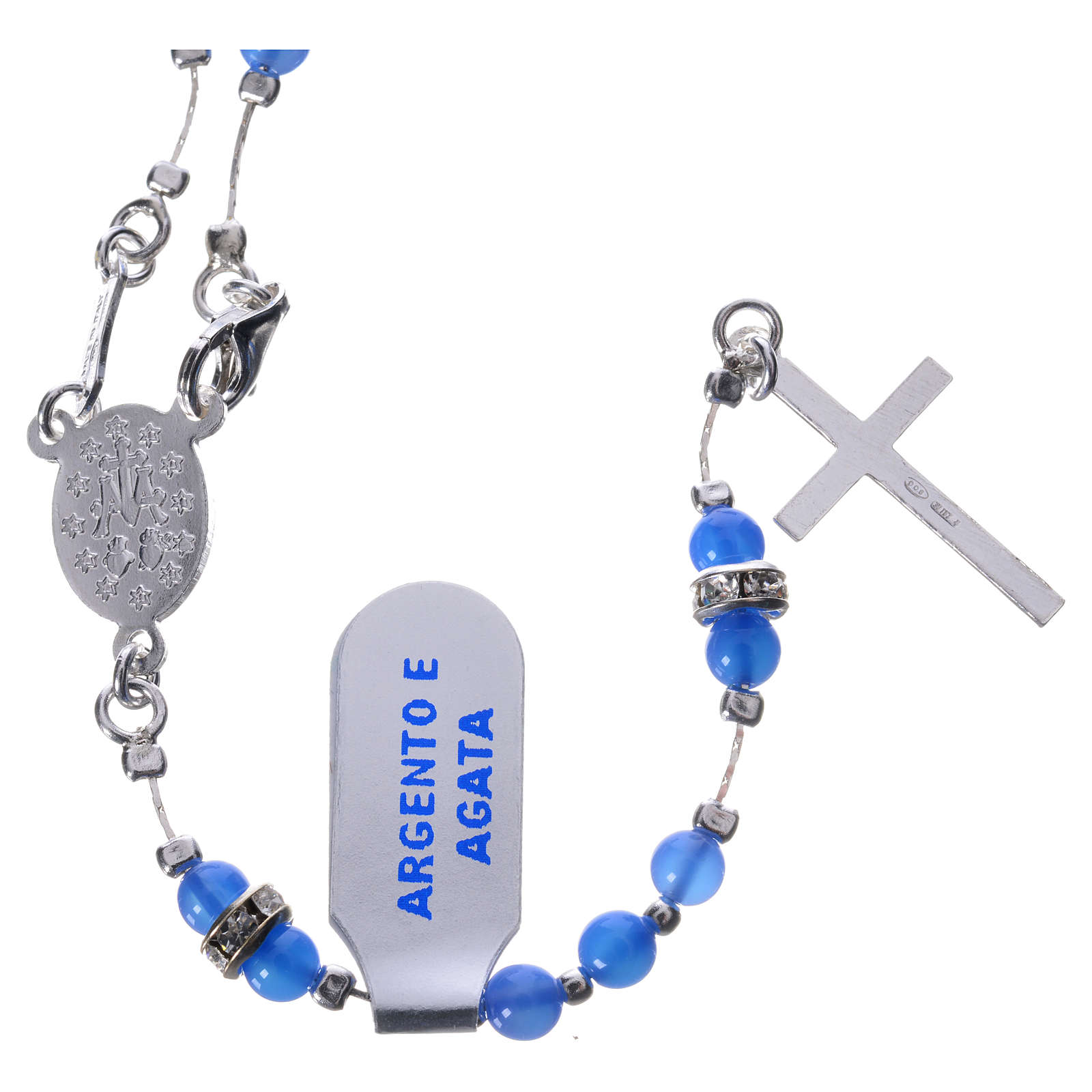 Rosary beads in 925 silver and blue agate, Miraculous Medal 4