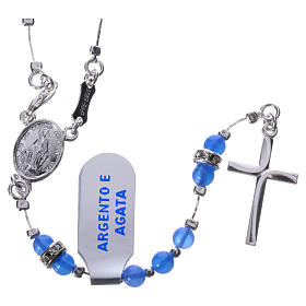 Rosary beads in 925 silver and blue agate, Miraculous Medal s1