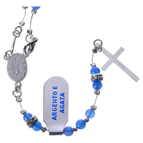 Rosary beads in 925 silver and blue agate, Miraculous Medal 2