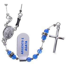 Rosario plata 800 ágata azul y pieza central Milagrosa s1