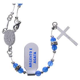 Rosario plata 800 ágata azul y pieza central Milagrosa s2