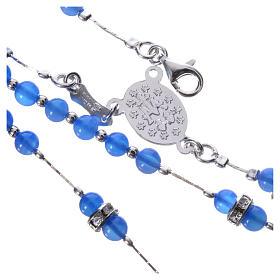 Rosario plata 800 ágata azul y pieza central Milagrosa s4