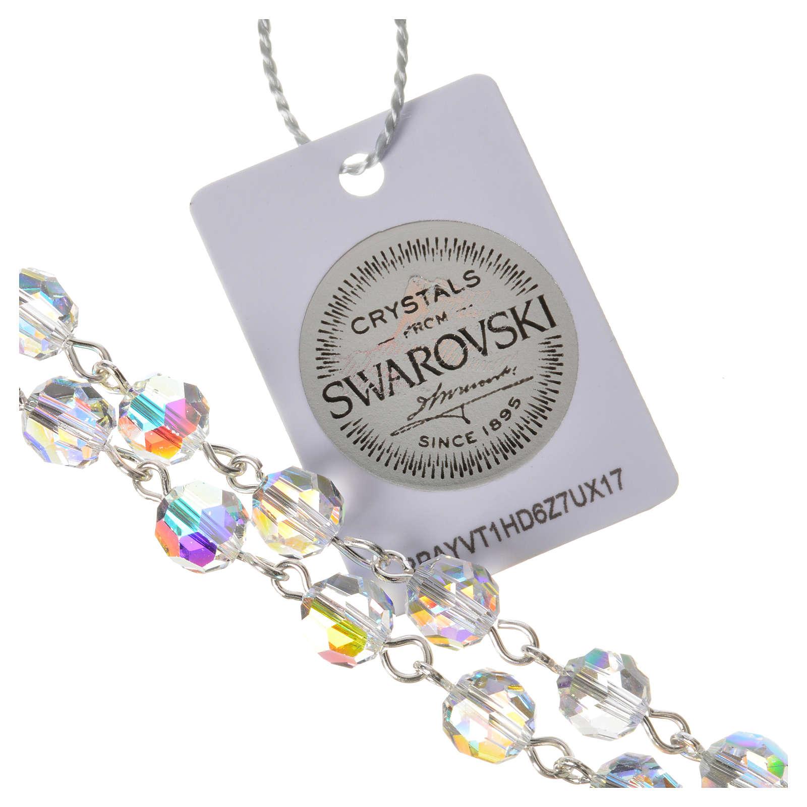 Rosario argento 925 grani Swarovski trasparenti med. Miracolosa 4
