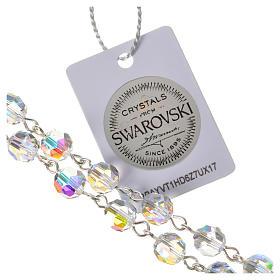 Rosario argento 925 grani Swarovski trasparenti med. Miracolosa s5