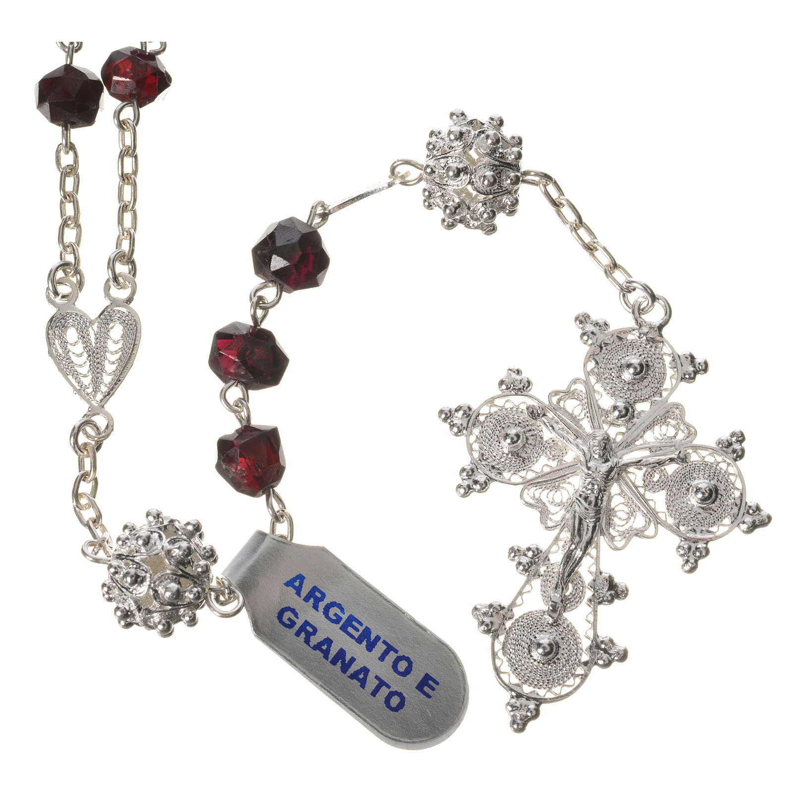 Rosary beads in 800 silver and garnet 4