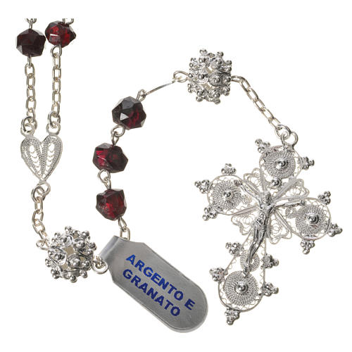 Rosary beads in 800 silver and garnet 1