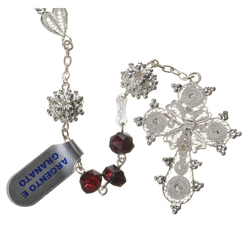 Rosary beads in 800 silver and garnet 2