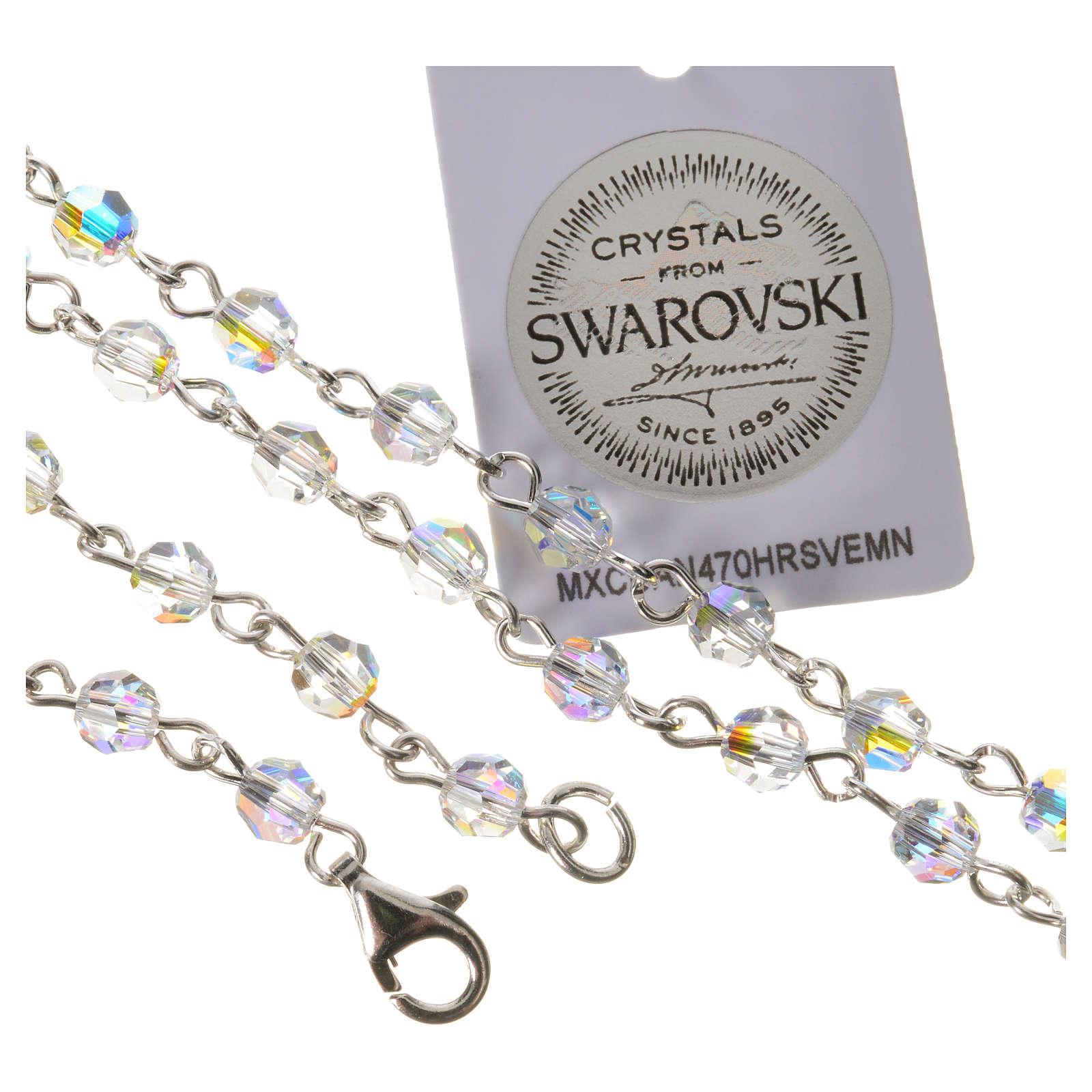 Rosario argento 800 Swarovski trasparenti Angelo Custode 4