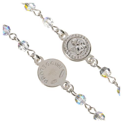 Rosario argento 925 Swarovski trasparenti Angelo Custode 3