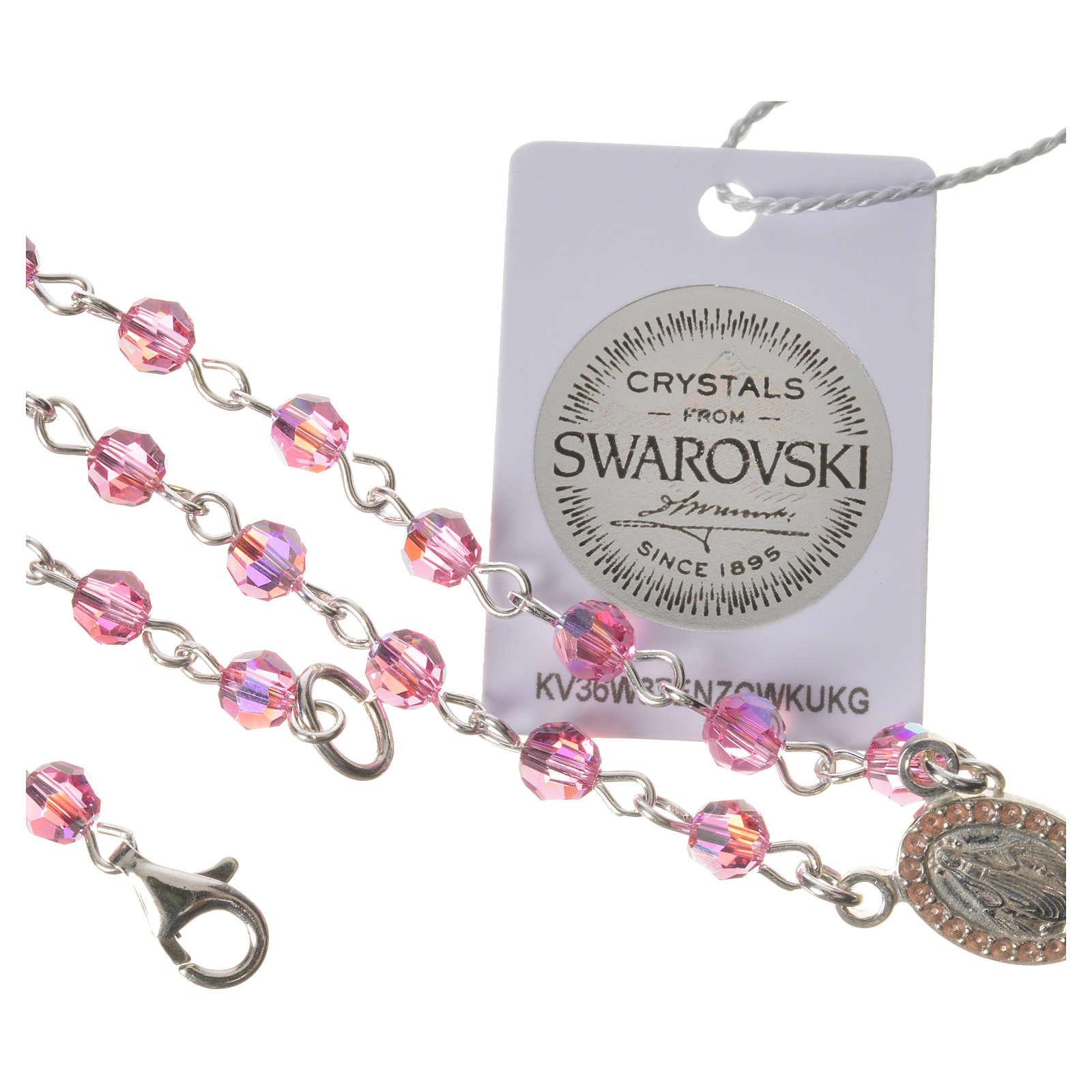 Rosario plata 800 Swarovski rosa ángel de la guarda 4