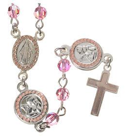 Rosario plata 800 Swarovski rosa ángel de la guarda s1