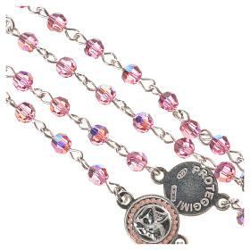Rosario plata 800 Swarovski rosa ángel de la guarda s4