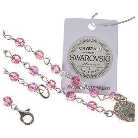 Rosario plata 800 Swarovski rosa ángel de la guarda s5