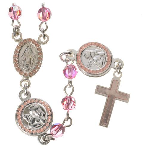 Rosario plata 800 Swarovski rosa ángel de la guarda 1