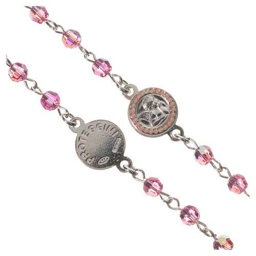 Rosario plata 800 Swarovski rosa ángel de la guarda 3