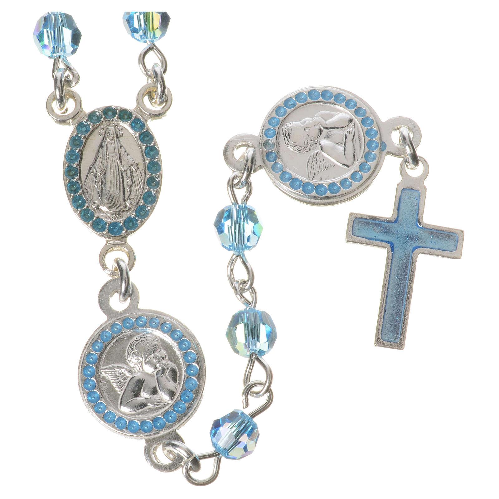 Rosario plata 800 swarovski celeste ángel de la guarda con medalla padre nuestro y ángel de la guarda 4