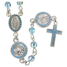 Rosario plata 800 swarovski celeste ángel de la guarda con medalla padre nuestro y ángel de la guarda s1