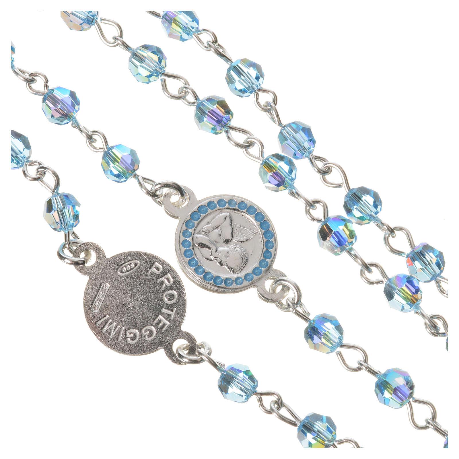 Rosario argento 800 Swarovski azzurri Angelo Custode 4