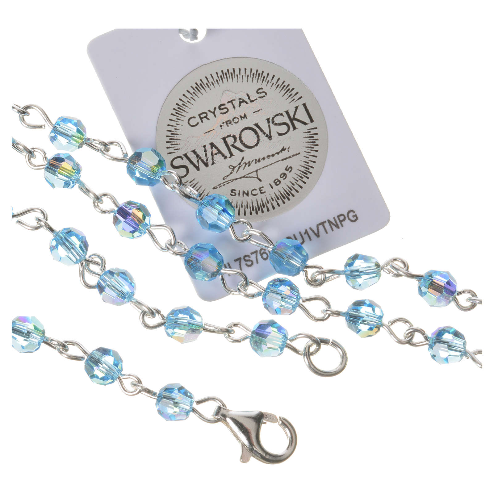 Rosary beads in 800 silver light blue Swarovski, Guardian Angel 4