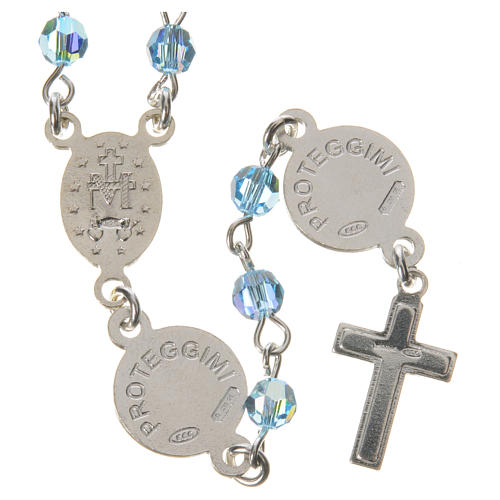 Rosary beads in 800 silver light blue Swarovski, Guardian Angel 2