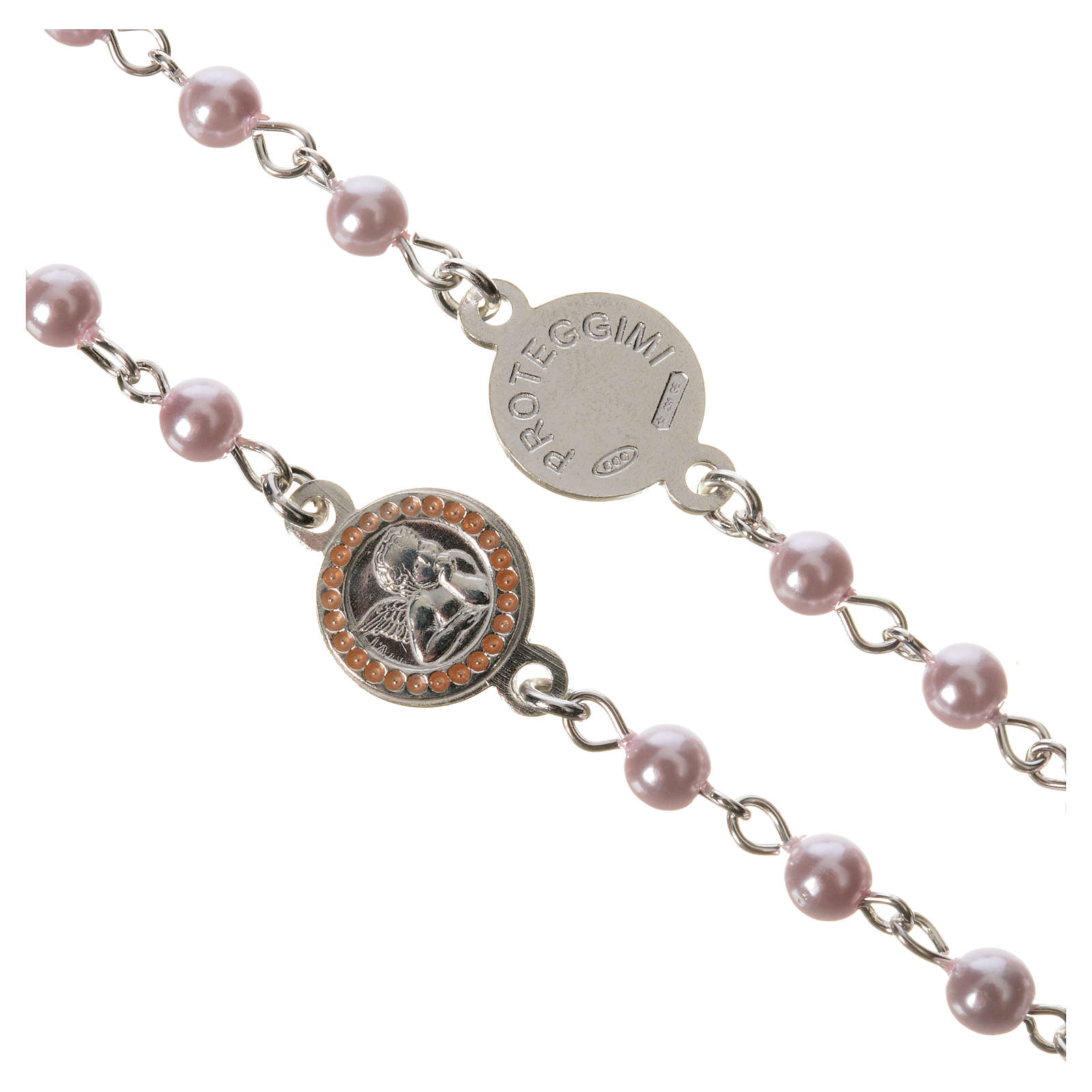 Rosario argento 800 perla vetro rosa Angelo Custode 4