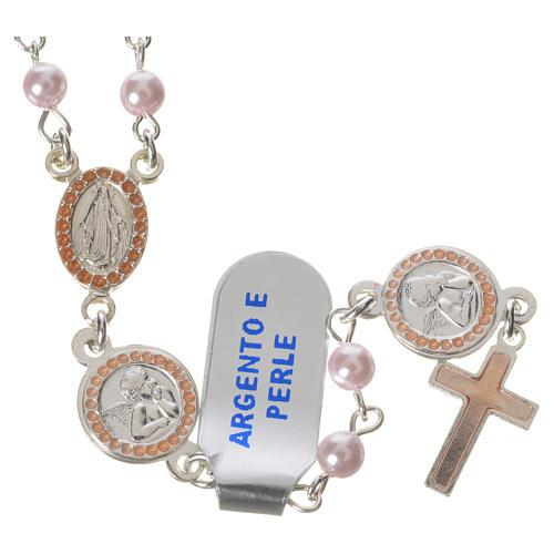 Różaniec srebro 800 perła szklana różowa Anioł Stróż 1