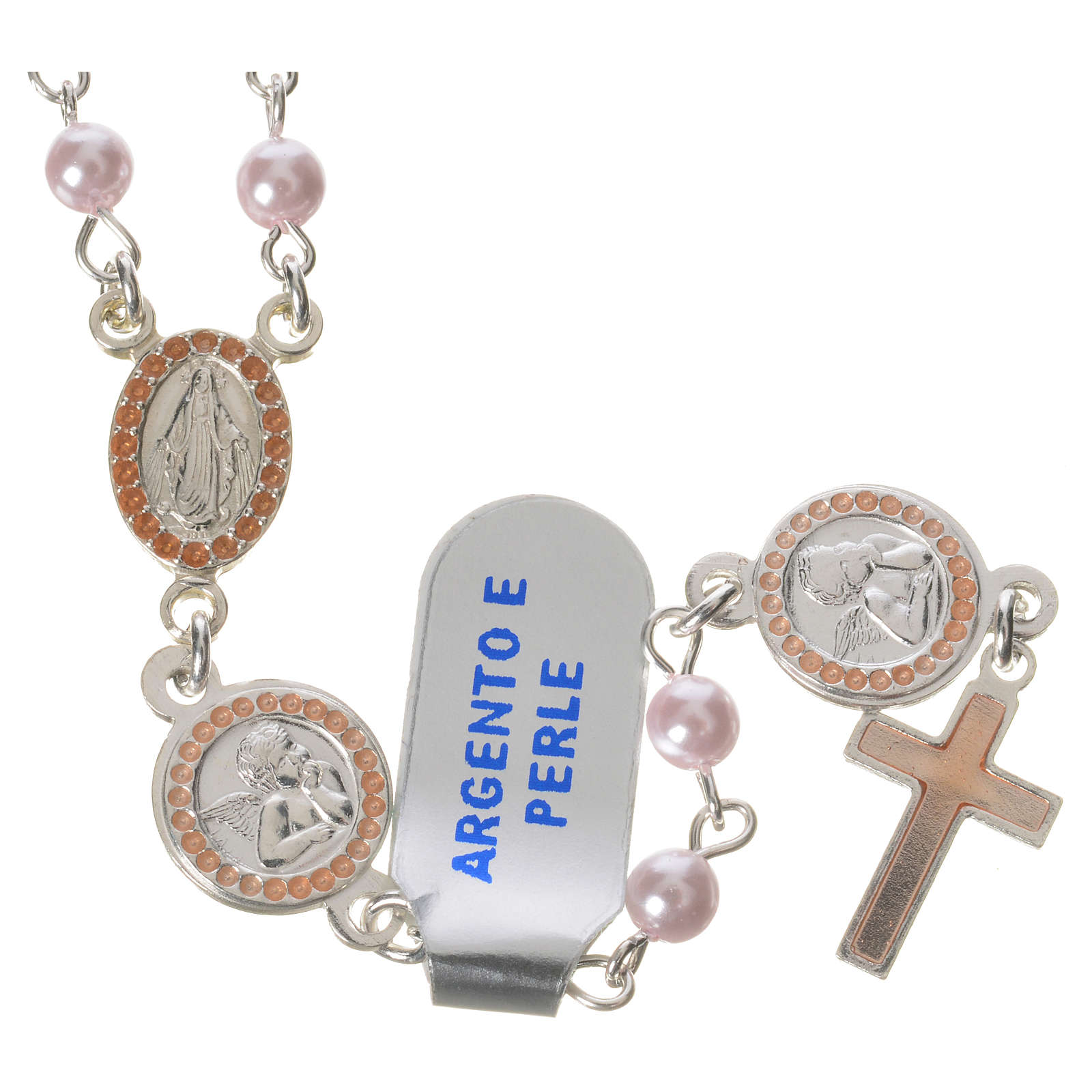 Rosary beads in 800 silver pink glass pearl, Guardian Angel 4