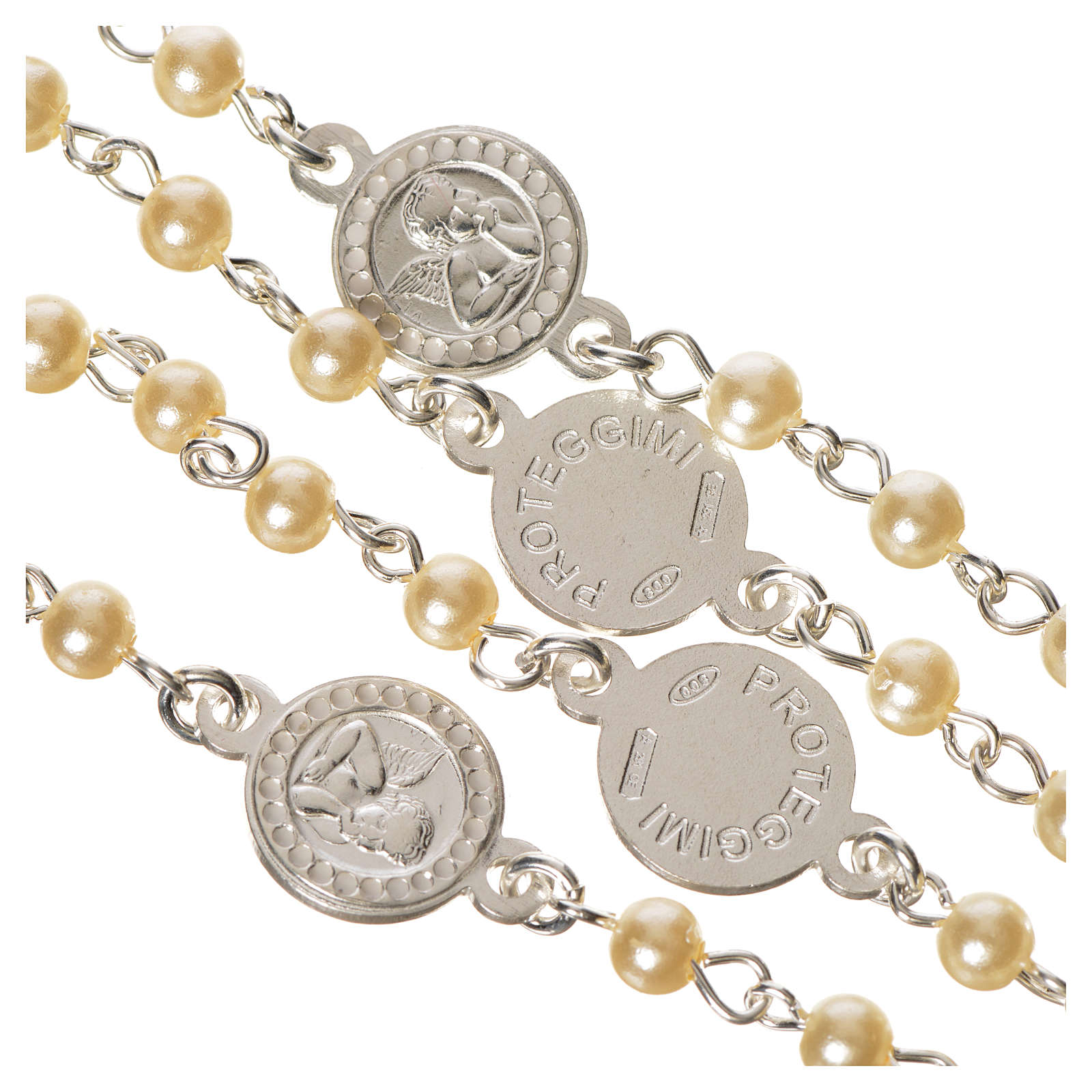 Rosario argento 800 perle angelo custode 4