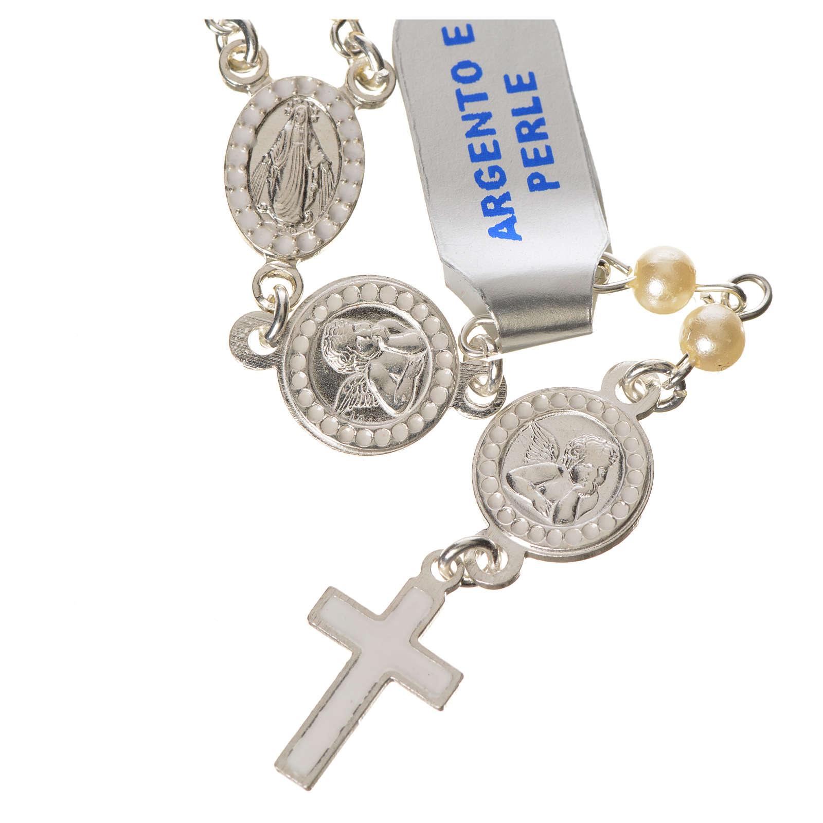 Różaniec srebro 800 perły anioł stróż 4