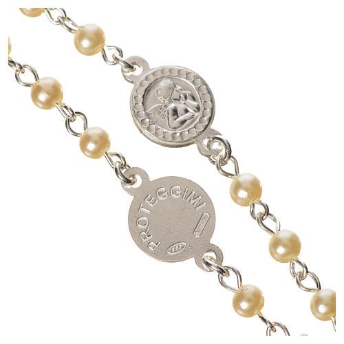 Różaniec srebro 800 perły anioł stróż 3
