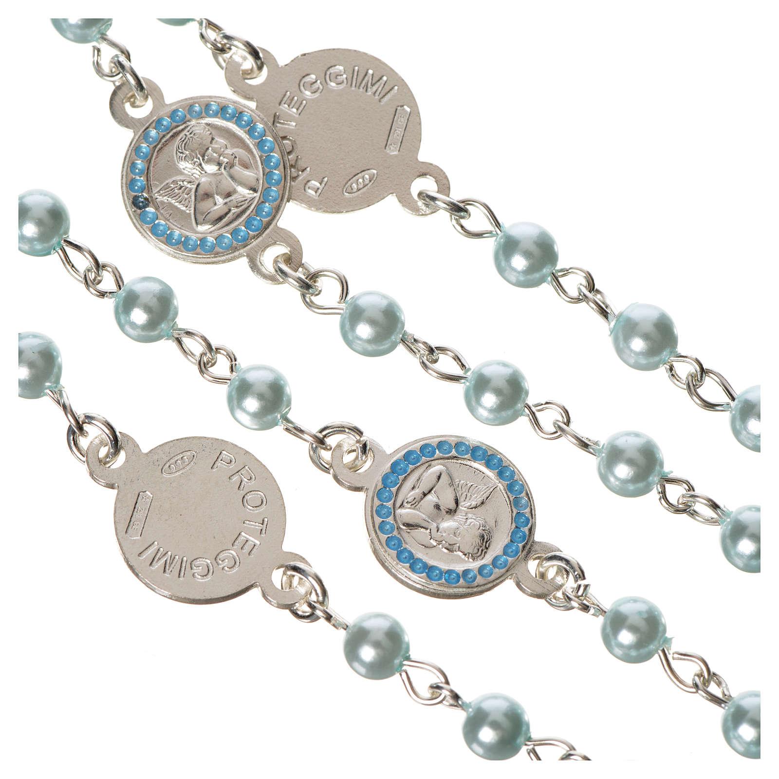 Rosario argento 800 perle azzurre angelo custode 4
