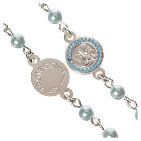 Rosario argento 800 perle azzurre angelo custode s3