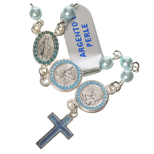 Rosario argento 800 perle azzurre angelo custode 1