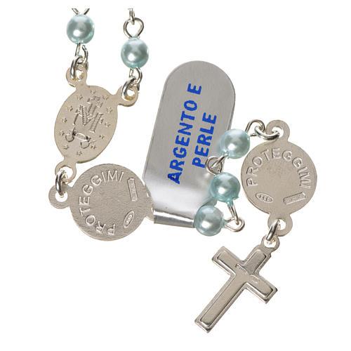 Rosario argento 800 perle azzurre angelo custode 2